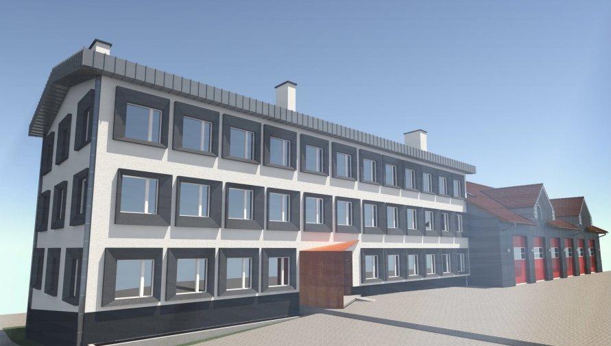 Wizualizacja siedziby Komendy Powiatowej Państwowej Straży Pożarnej w Lubaniu